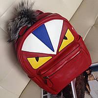 Красный женский рюкзак FENDI копия портфеля феном для женщин