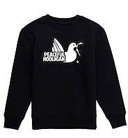 Свитшот Peaceful Hooligan черный с белым логотипом,унисекс (мужской,женский,детский)