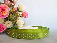 Атласная лента в горошек 0,9 см, цвет оливковый