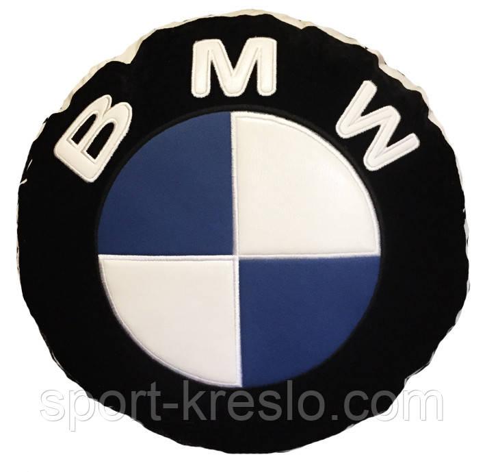 Автомобільна подушка кругла з логотипом bmv бмв 35см