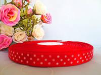 Атласная лента в горошек 0,9 см, цвет красный