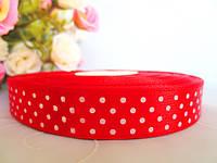 Атласная лента в горошек 1,5 см, цвет красный