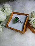 Кольцо, колечко с камушком бутылочного цвета, фото 2