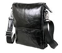 Стильная мужская кожаная сумка-мессенджер лакированная формата А5 черная