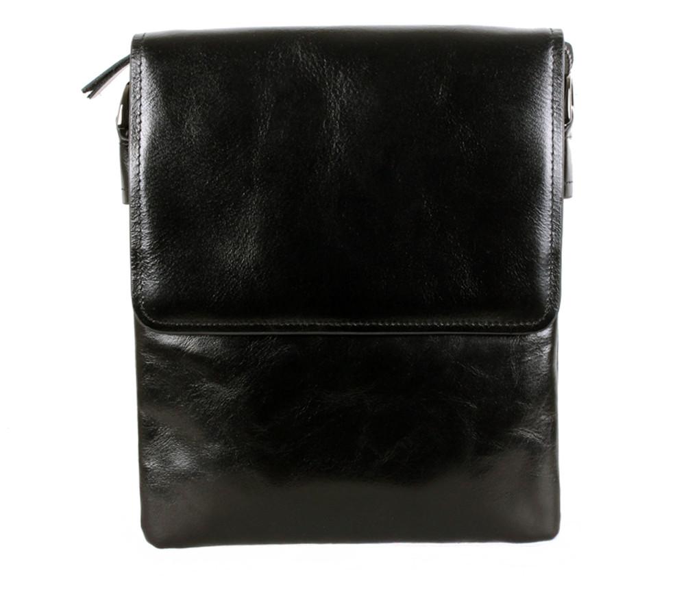 Многофункциональная мужская кожаная сумка-почтальон черная