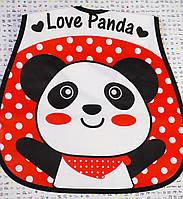 Слюнявчики с карманом Панда на красном