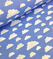 Хлопковая ткань польская облака белые большие и маленькие на голубом