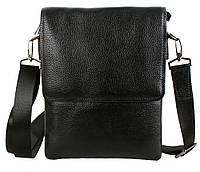 Практичная мужская кожаная сумка на три отделения черная
