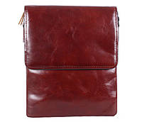 Оригинальная мужская кожаная сумка-почтальон коричневая