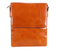 Стильная мужская кожаная сумка-почтальон рыжая