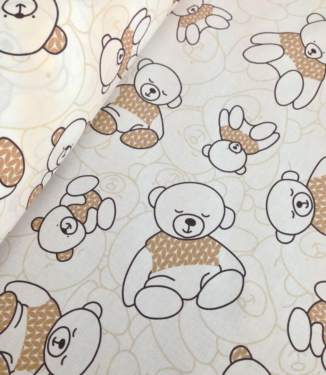 Хлопковая ткань польская мишки в бежевом свитере