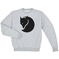 Свитшот Fjallraven серый с черным логотипом,унисекс (мужской,женский,детский)