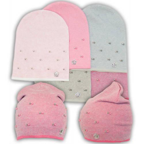 Вязаная шапка с бусинками, для девочки, KX6