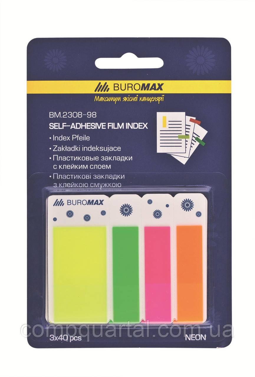 Стікер-закладки BUROMAX Неон 2308-98 45Х12мм + 45Х25мм  3х40 арк.