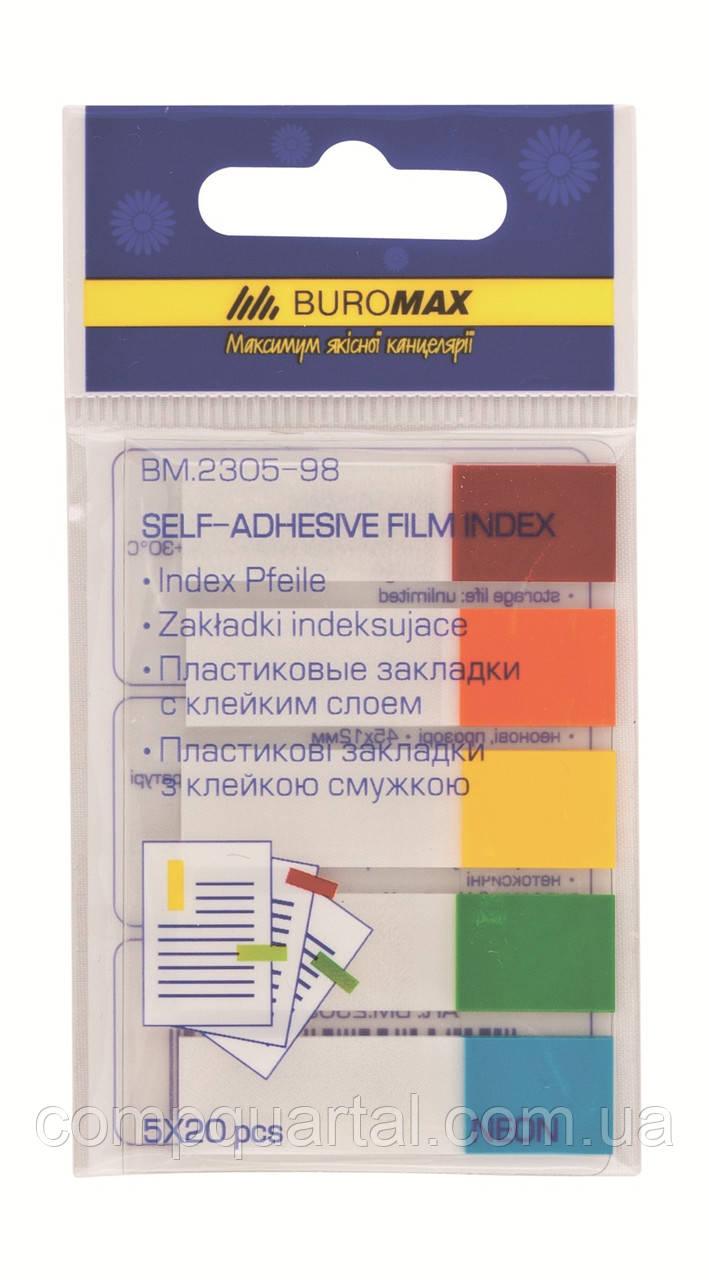 Стікер-закладки BUROMAX Неон 2305-98 45Х12мм  5х20 арк.