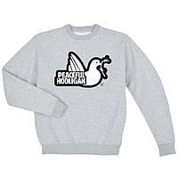 Свитшот Peaceful Hooligan серый с белым логотипом,унисекс (мужской,женский,детский)