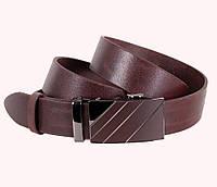 Оригинальный мужской кожаный ремень классический 3,5 см коричневый