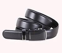 Мужской кожаный ремень классический 3,3 см черный
