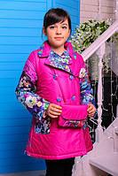Детское пальто на девочку весна  ''Цветочки'',розовое