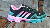 Женские+подростковые кроссовки Адидас марафон черные|розовые|зеленые
