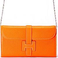 Женский кошелек – оранжевый – Hermes – съемный ремень-цепочка.