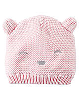 Детская вязаная шапочка для девочки.  3-9, 12-24 месяца