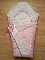 Теплый конверт Одеяло для девочек и мальчиков весна осень  90х90см розовый белый горошек  бант