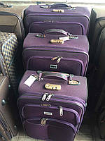 Комплект дорожных чемоданов на колесах 3 в 1 СЕРЫЙ КОРИЧНЕВЫЙ КРАСНЫЙ