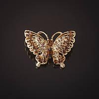 Брошь Бабочка золотистая ажурная золотые стразы  2 см