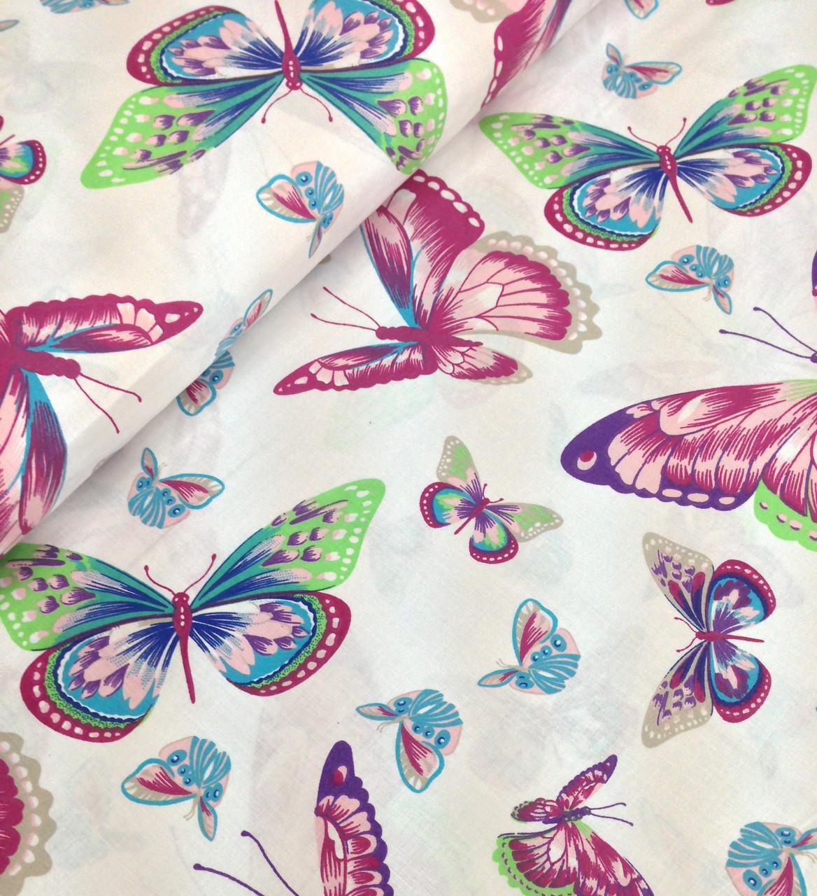 Хлопковая ткань бабочки разноцветные