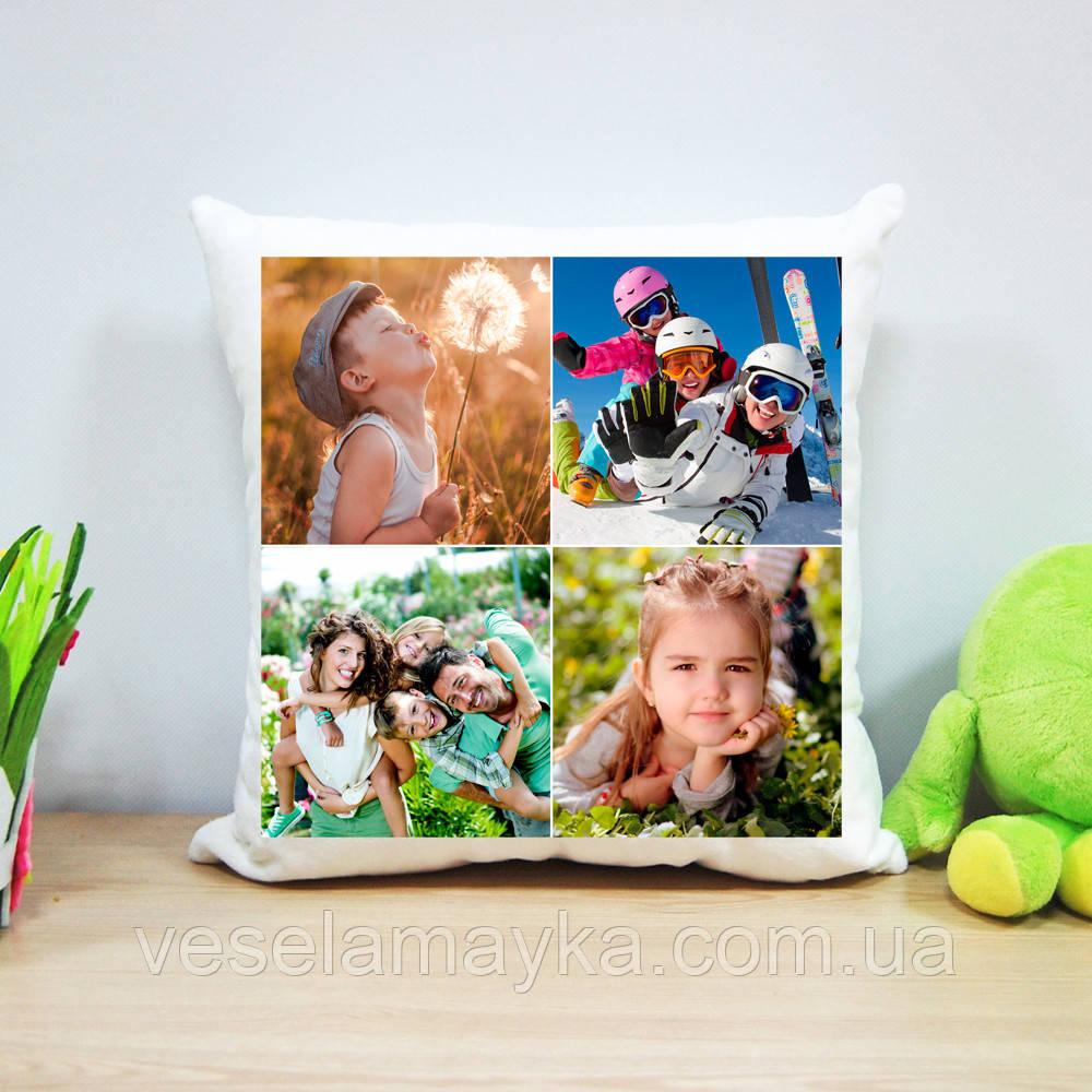 Плюшева подушка з печаткою на 4 фото (варіант 2)