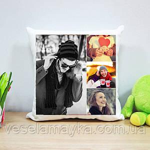 Плюшевая подушка с печатью на 4 фото (вариант 3)