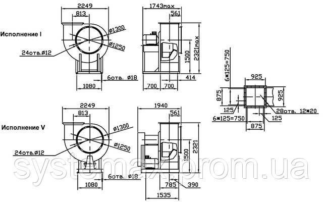 Габаритные и присоединительные размеры радиального вентилятора ВЦ 4-75 №12,5