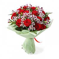 Роза красная 19 шт + альстромерия 7 штв букете