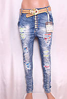 Женские джинсы YES PINK с заниженной матней с рванкой и стразами l.xl размер.