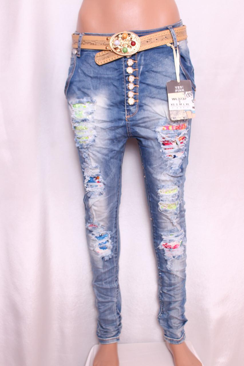 Жіночі джинси YES PINK із заниженою матней з рванкой і стразами l.xl розмір.