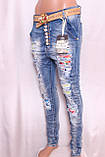 Жіночі джинси YES PINK із заниженою матней з рванкой і стразами l.xl розмір., фото 2