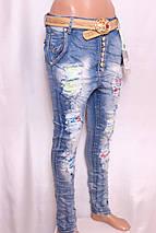 Женские джинсы YES PINK с заниженной матней с рванкой и стразами l.xl размер., фото 2