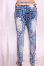 Женские джинсы YES PINK с заниженной матней с рванкой и стразами l.xl размер., фото 3