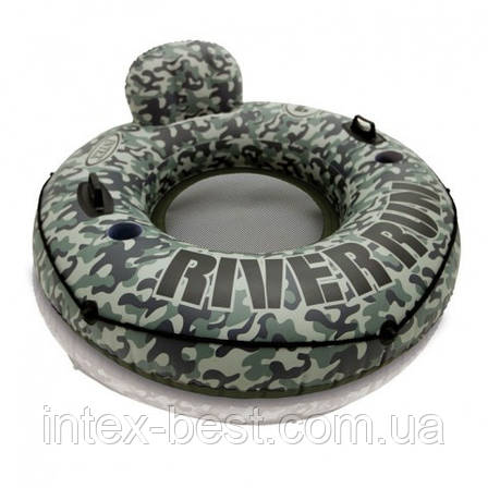 Круг-кресло надувное для плавания Intex 58835 Camo River Run I (диаметр 135 см), фото 2