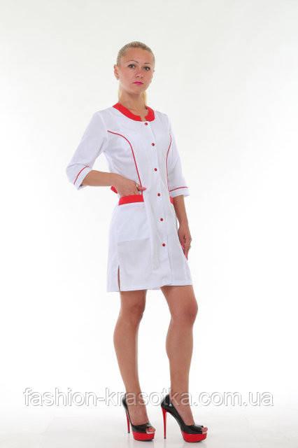 Красивый женский медицинский халат с красными вставками