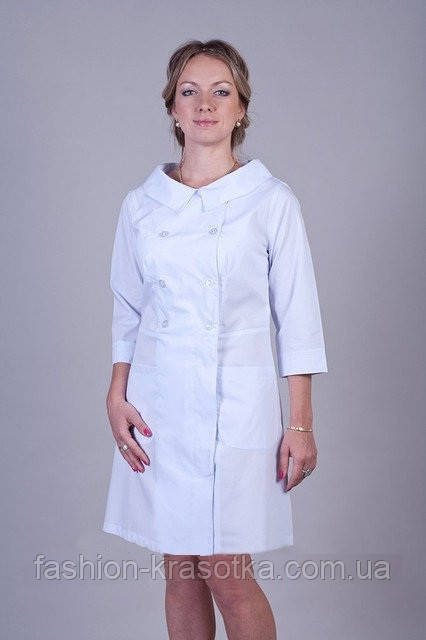 Оригинальный женский медицинский халат с красивым воротником