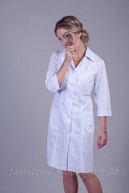 Женский медицинский халат до колен с карманами