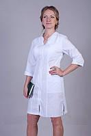 Белый медицинский халат на молнии с оригинальным вырезом от производителя
