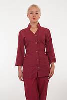 Бордовый медицинский костюм на пуговицах. Размер 40-60