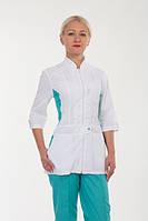 Женский медицинский костюм. Белый верх на молнии, низ бирюза