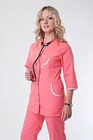 Персиковый однотонный женский медицинский костюм. Размер 40-56