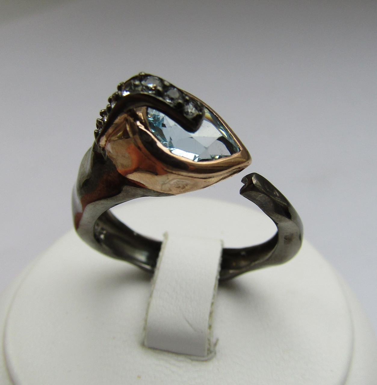 0127d0cac68c Необычное кольцо с топазами. Серебро, черный родий, позолота - ФИЛИГРАНЬ в  Сумах