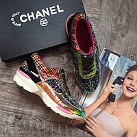 Кожаные женские кроссовки Chanel твидовые разноцветные Шанель 36 размер