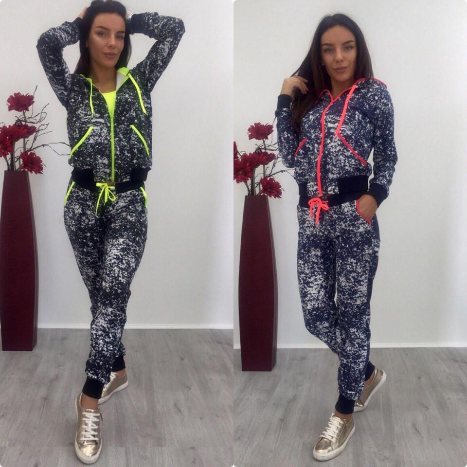 Костюм модный спортивный женский кофта на молнии и брюки 2 цвета Sdi05 66d73f1e9db